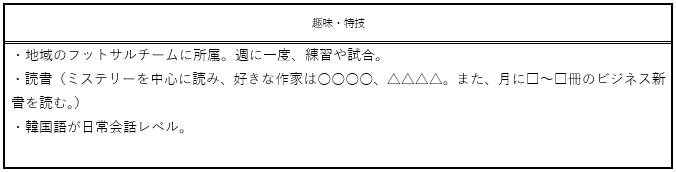 趣味・特技欄(サンプル1)